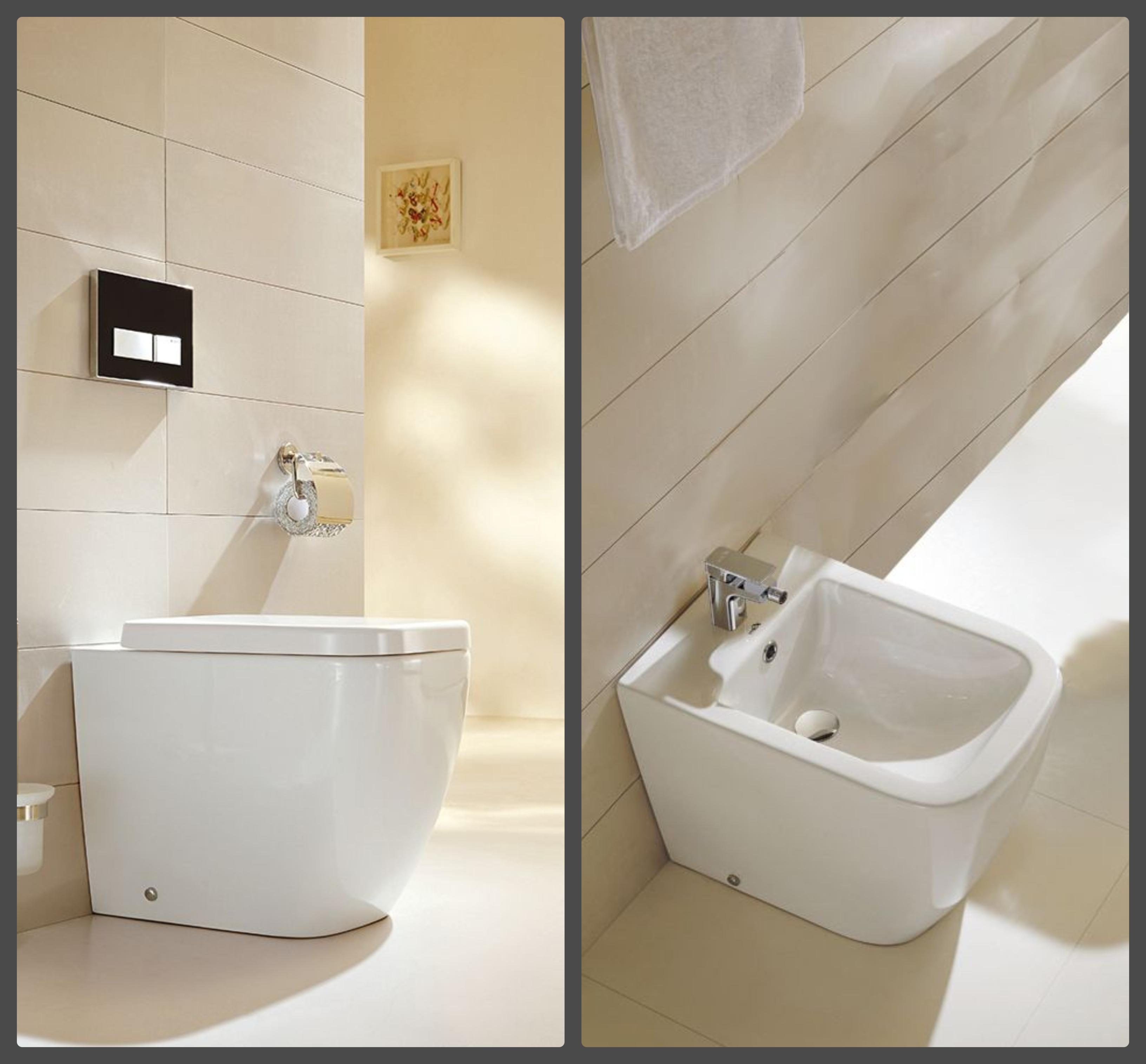 Komplettset Stand-WC BTW-6023 + Stand-Bidet BTW-6027 inkl. Soft-Close Sitz