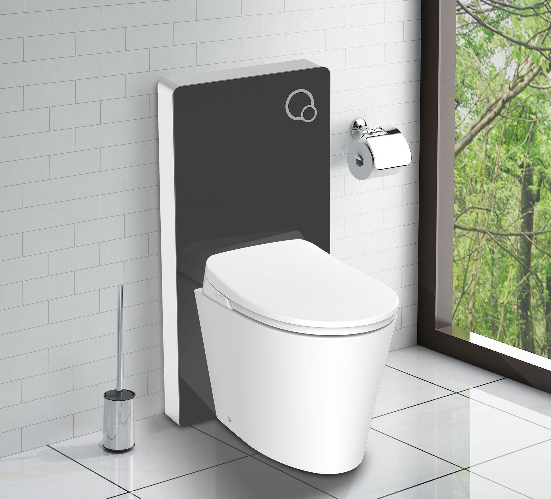 Schwarzglas Sanitärmodul für Stand-WC inkl. Betätigungsplatte