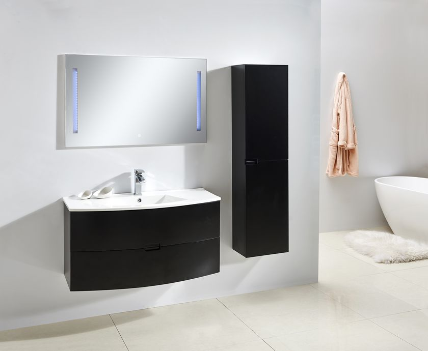 badmobel schwarz, badmöbel unterschrank alba 100 in schwarz inkl. waschtisch - glasdeals, Design ideen