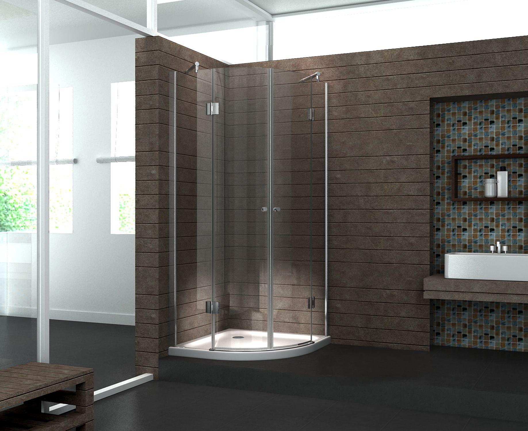 Duschkabine ANGOLO 90 x 90 x 195 cm (Viertelkreis) ohne Duschtasse