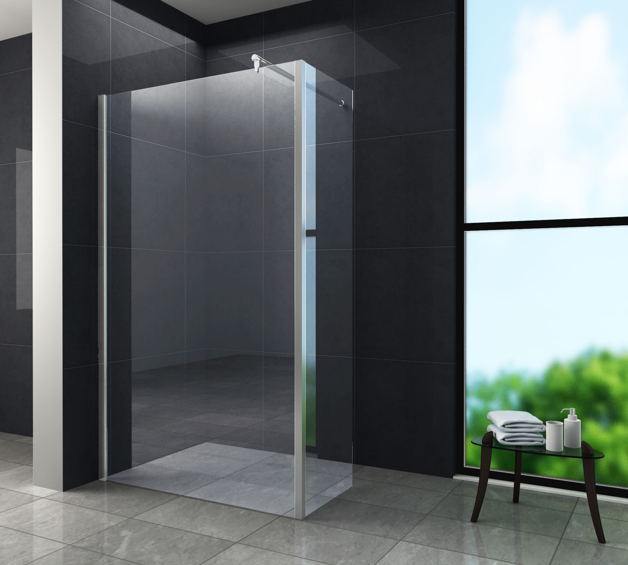 10 mm Anbau-Ecke für Duschwand AQUOS (30 cm)