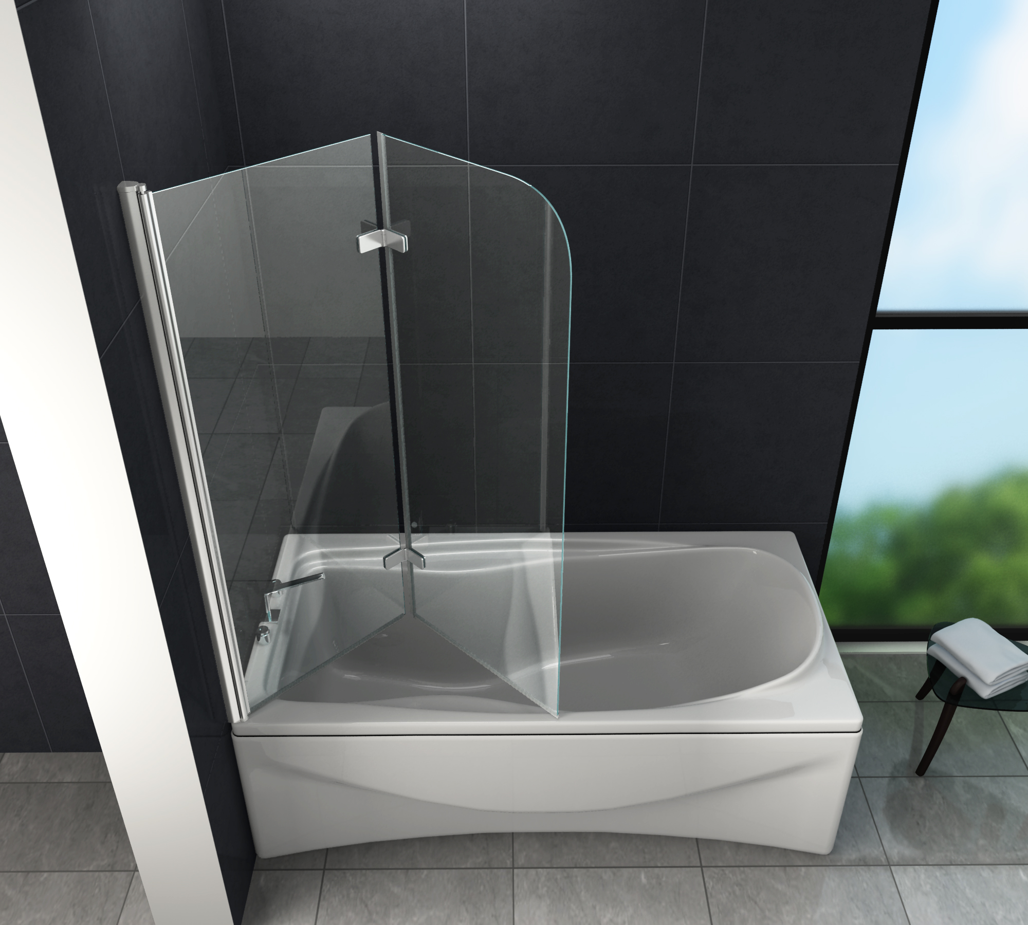Duschtrennwand brease 100 x 140 badewanne glasdeals - Badewanne duschtrennwand ...