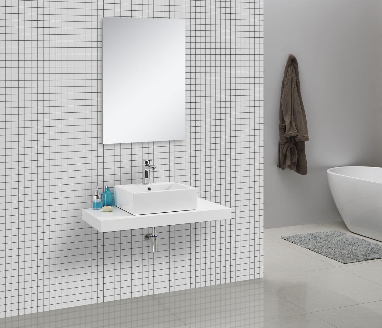 Waschtischkonsole CADENA 100 x 50 cm, Echtholz (weiß)