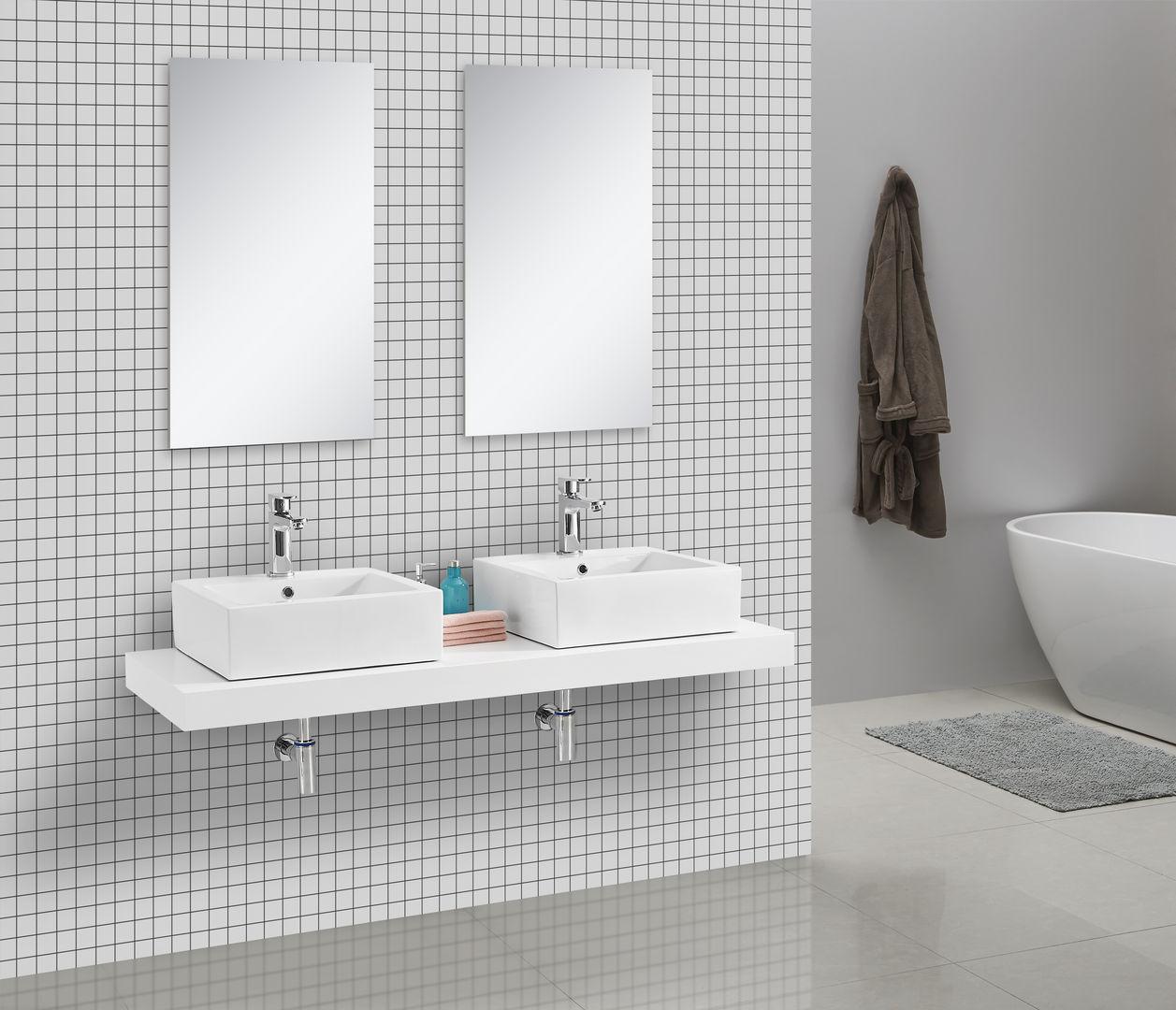 Waschtischkonsole CADENA 150 x 50 cm, Echtholz (weiß)