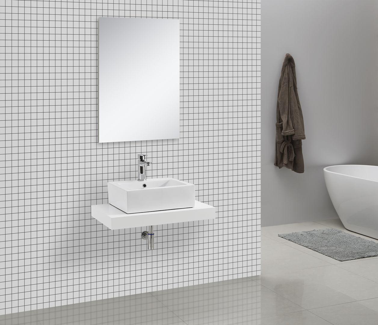 Waschtischkonsole CADENA 75 x 50 cm, Echtholz (weiß)