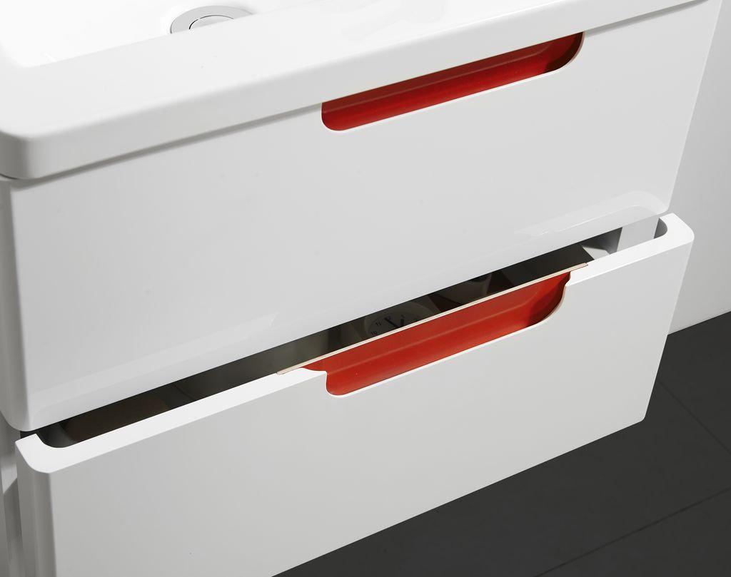 Badmöbel Set COLORI 55 in weiß-rot