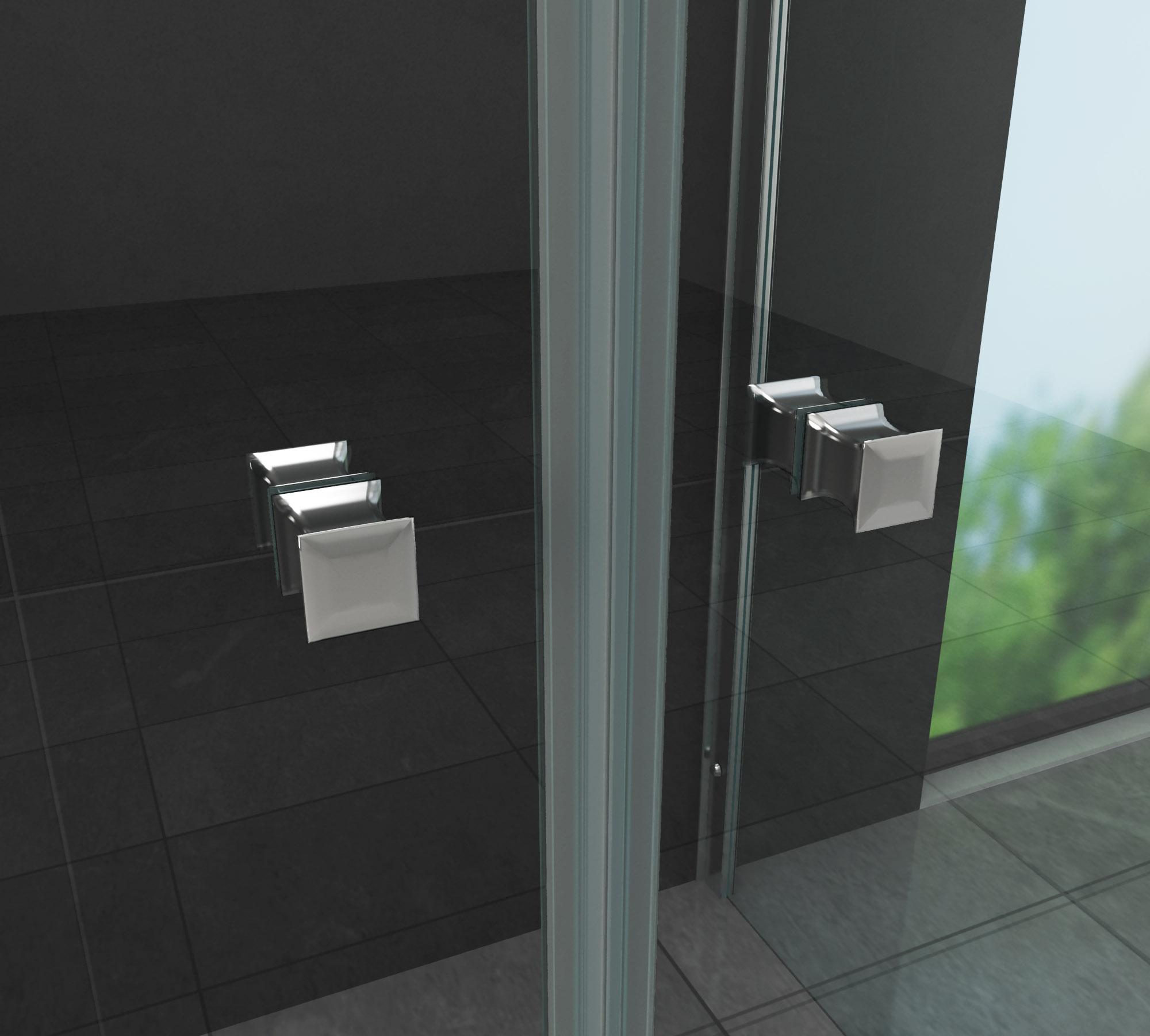 Duschkabine COMUTO 100 x 80 x 195 cm ohne Duschtasse - Glasdeals