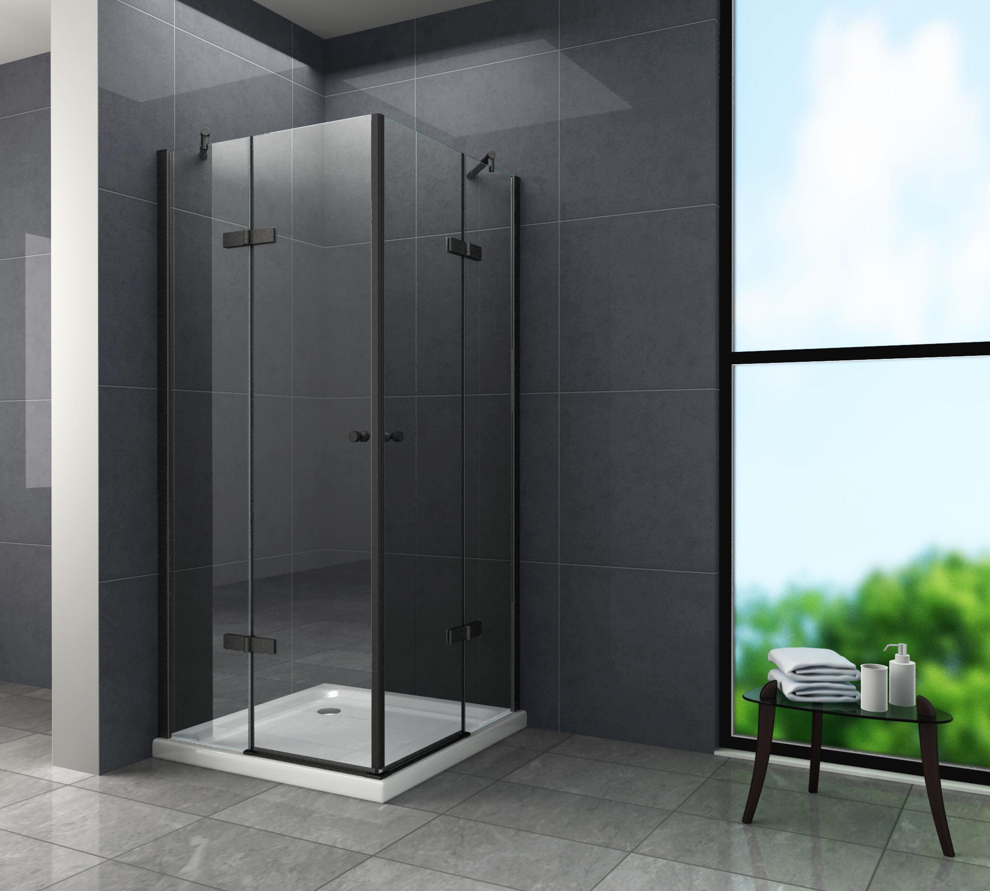 Duschkabine CORNO (schwarz) 90 x 75 x 195 cm ohne Duschtasse