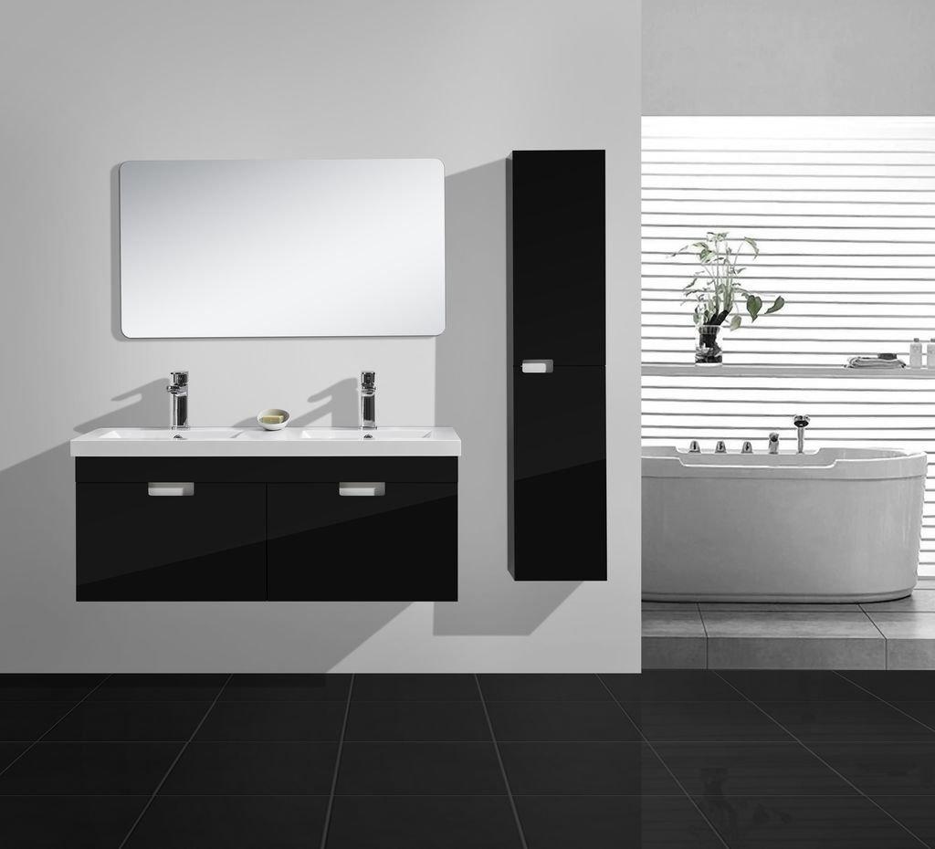 badmobel schwarz, badmöbel-set glosso 120 (hochglanz-schwarz) - glasdeals, Design ideen