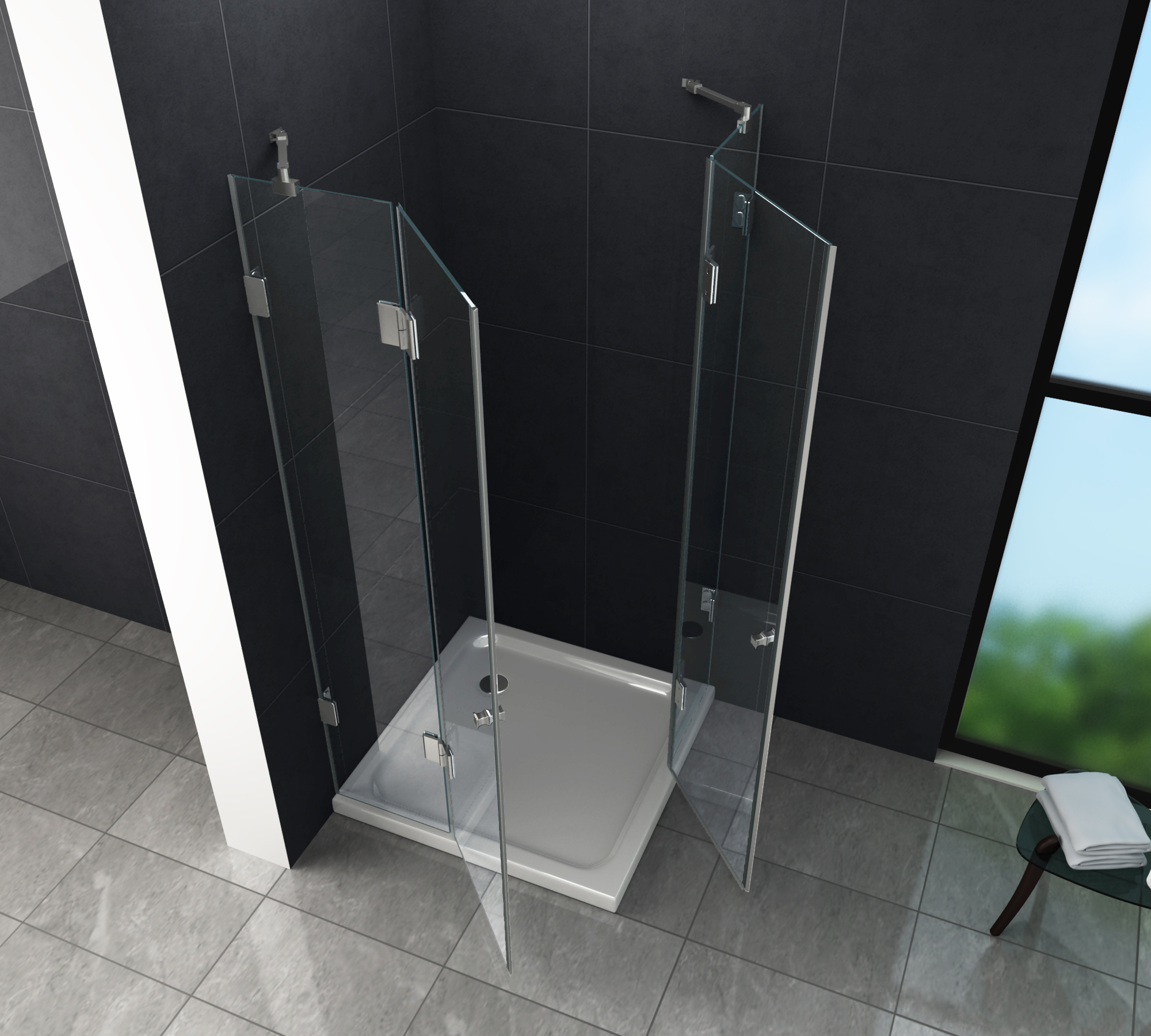 rahmenlose duschkabine luxorline 120 x 80 x 195 cm ohne duschtasse - Dusche 80 X 120 Cm