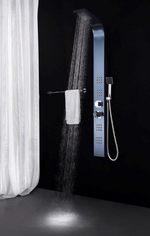 edelstahl duschpaneel nero schwarz glasdeals. Black Bedroom Furniture Sets. Home Design Ideas