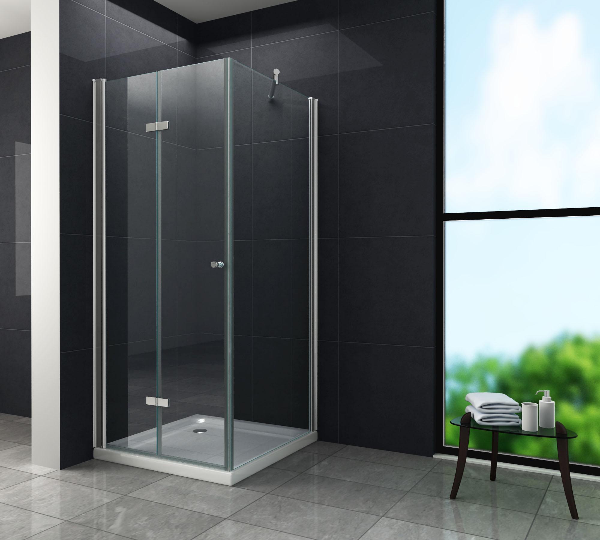 Falttür Duschkabine ONTO 90 x 75 x 195 cm ohne Duschtasse
