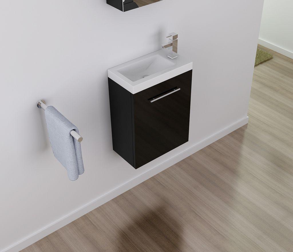 Badmöbel Unterschrank PATRO 45 in schwarz inkl. Waschtisch