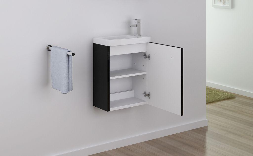 badm bel unterschrank patro 45 in schwarz inkl waschtisch glasdeals. Black Bedroom Furniture Sets. Home Design Ideas