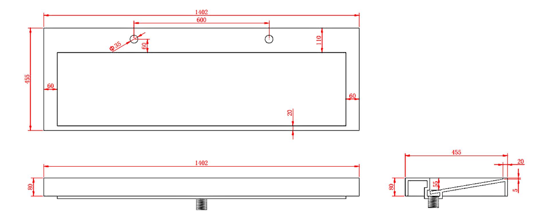 Mineralguss-Aufsatzwaschtisch MAW2341 (140cm)