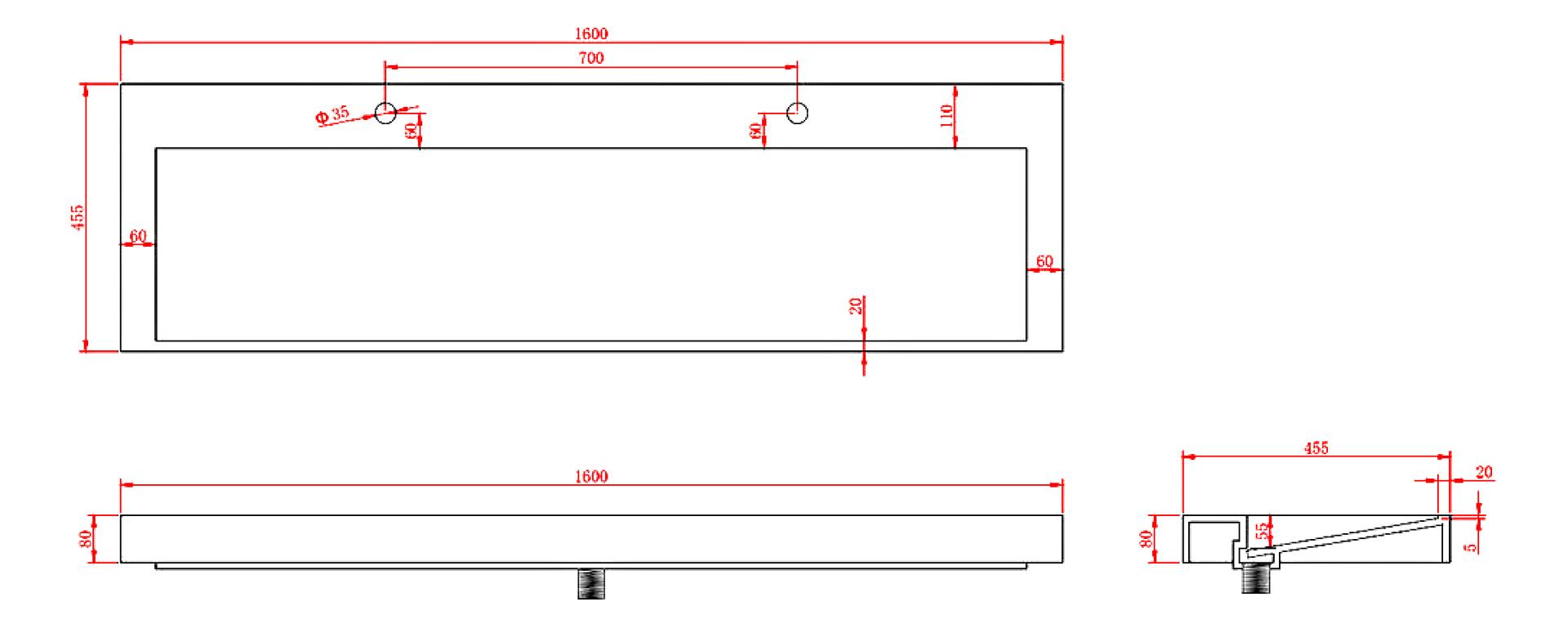 Mineralguss -Aufsatzwaschtisch MAW2343 (160cm)