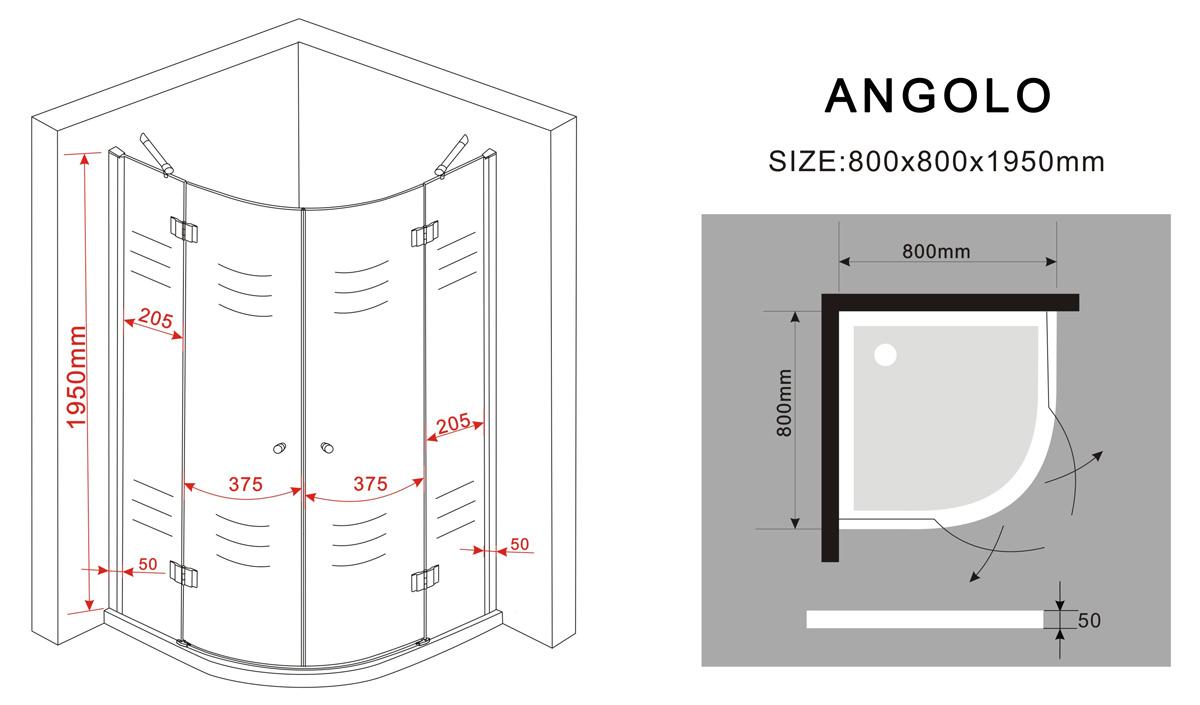 duschkabine angolo 80 x 80 x 195 cm viertelkreis ohne duschtasse glasdeals. Black Bedroom Furniture Sets. Home Design Ideas