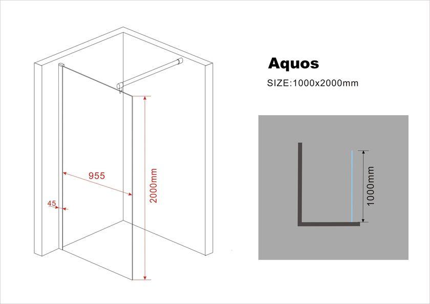10 mm Duschwand AQUOS 100 x 200 cm