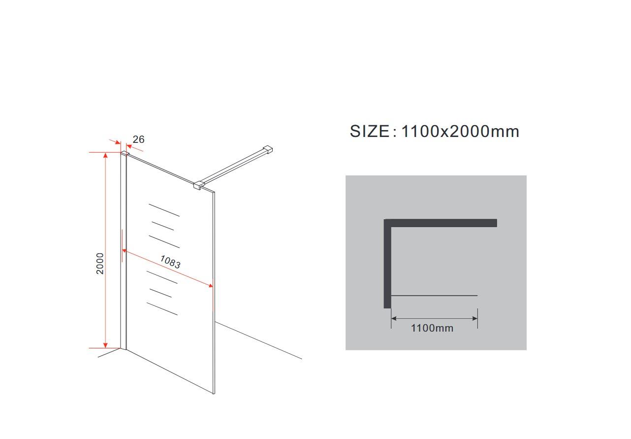 10 mm Duschwand AQUOS 110 x 200 cm
