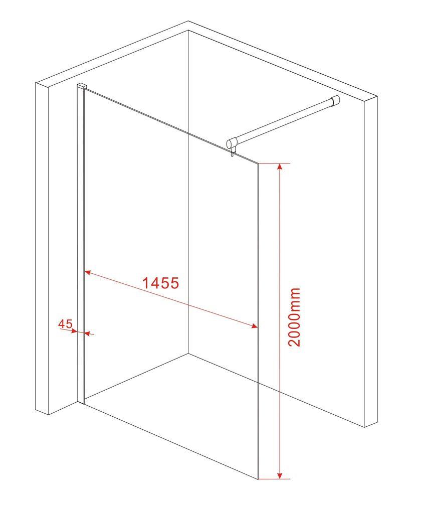 10 mm Duschwand AQUOS 150 x 200 cm