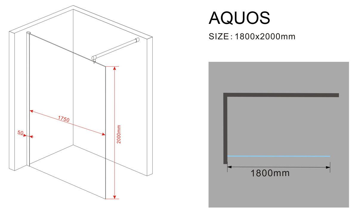 10 mm Duschwand AQUOS 180 x 200 cm