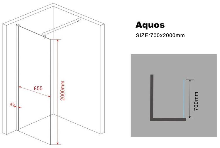 10 mm Duschwand AQUOS 70 x 200 cm