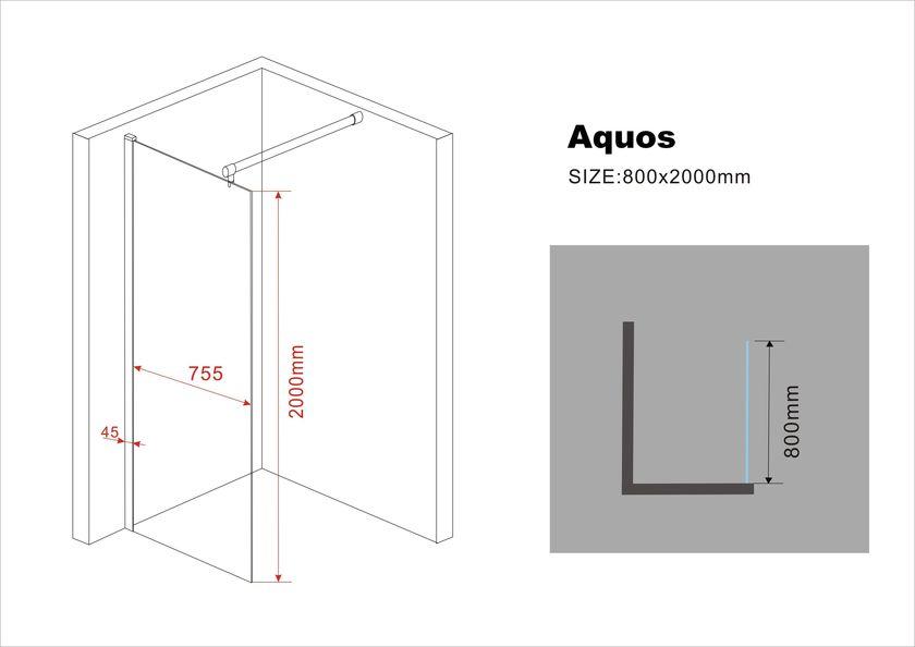 10 mm Duschwand AQUOS 80 x 200 cm