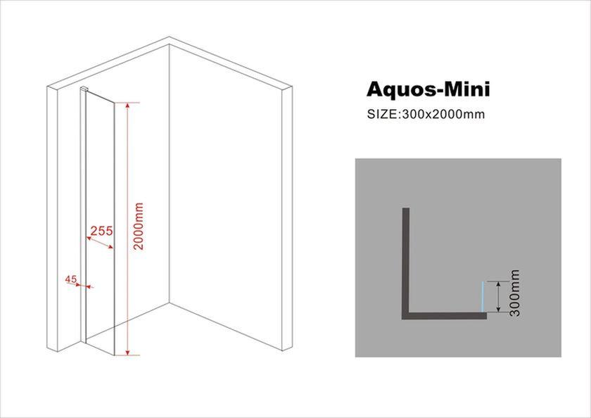 10 mm Duschwand AQUOS-Mini 30 x 200 cm