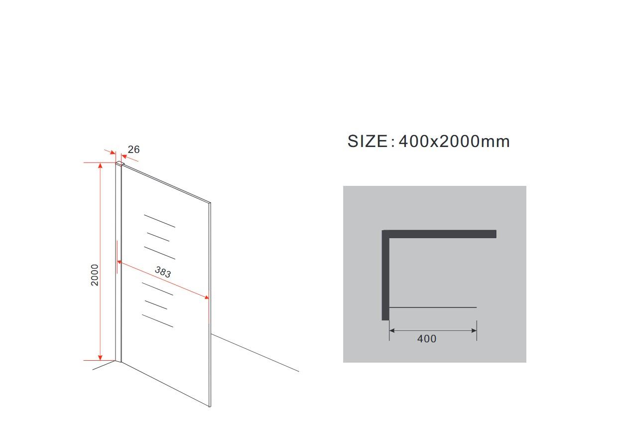 10 mm Duschwand AQUOS-Mini 40 x 200 cm
