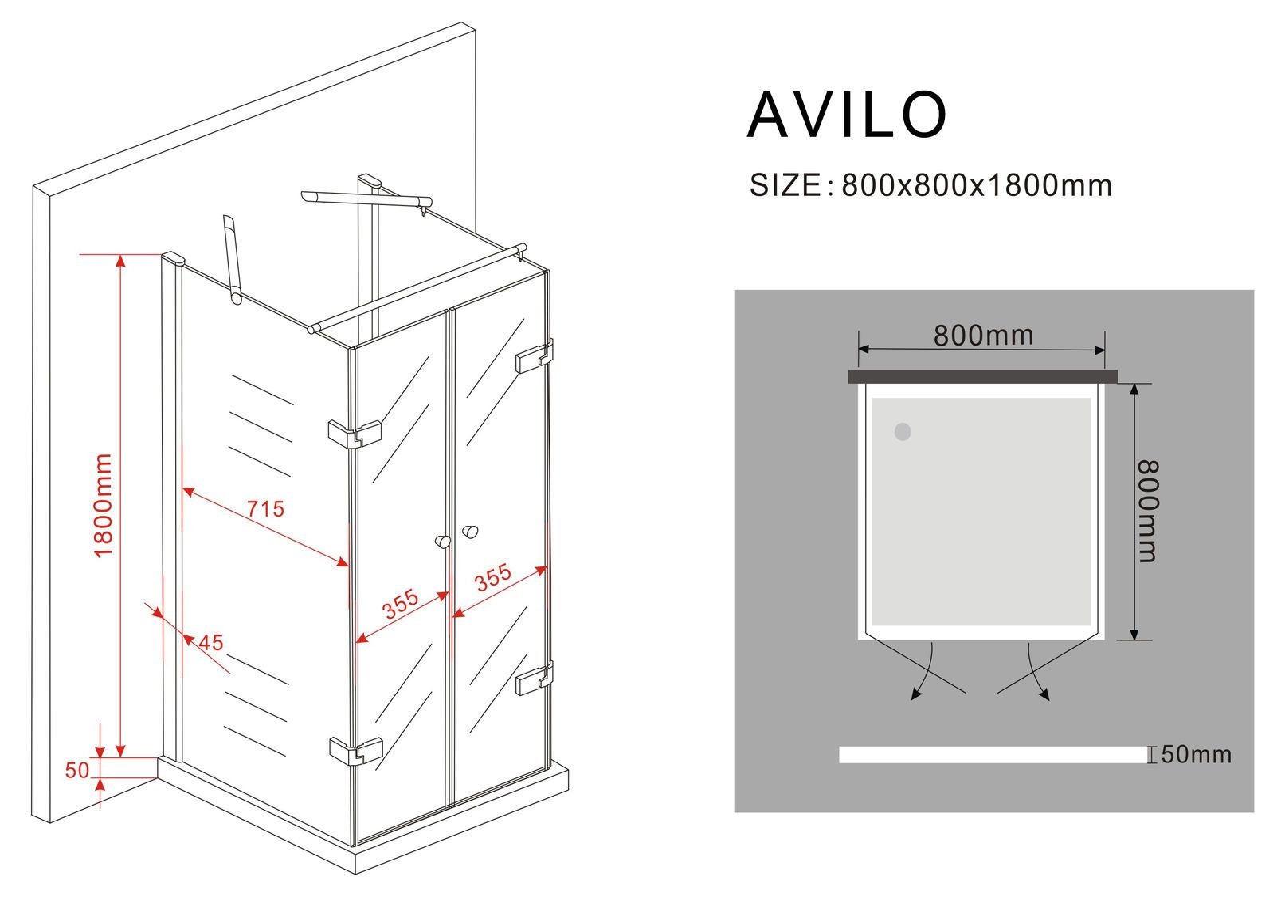 u duschkabine avilo 80 x 80 x 180 ohne duschtasse glasdeals. Black Bedroom Furniture Sets. Home Design Ideas