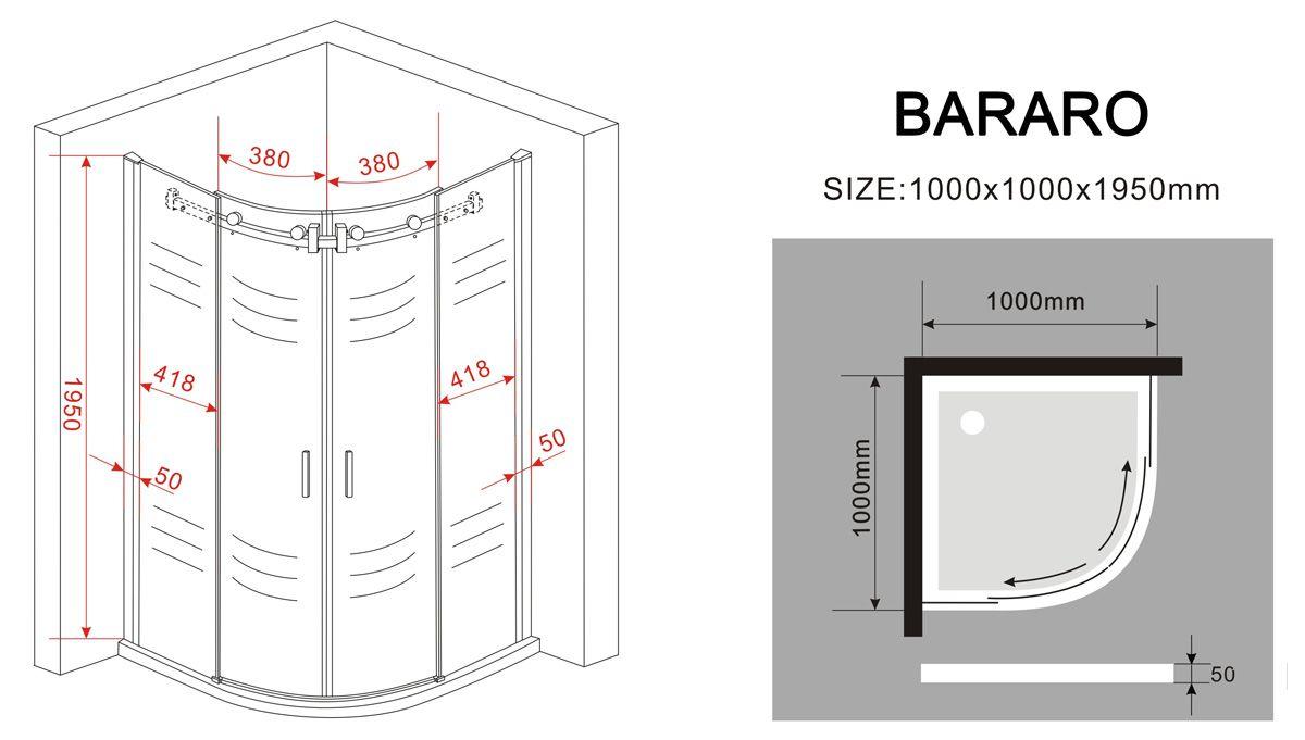 Duschkabine BARARO 100 x 100 x 200 cm (Viertelkreis) inkl. Duschtasse