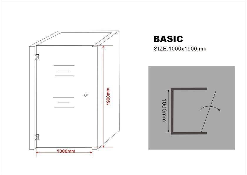 8 mm Nischentür BASIC 100 x 190 cm