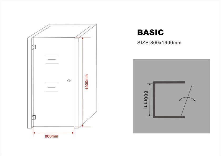 8 mm Nischentür BASIC 80 x 190 cm