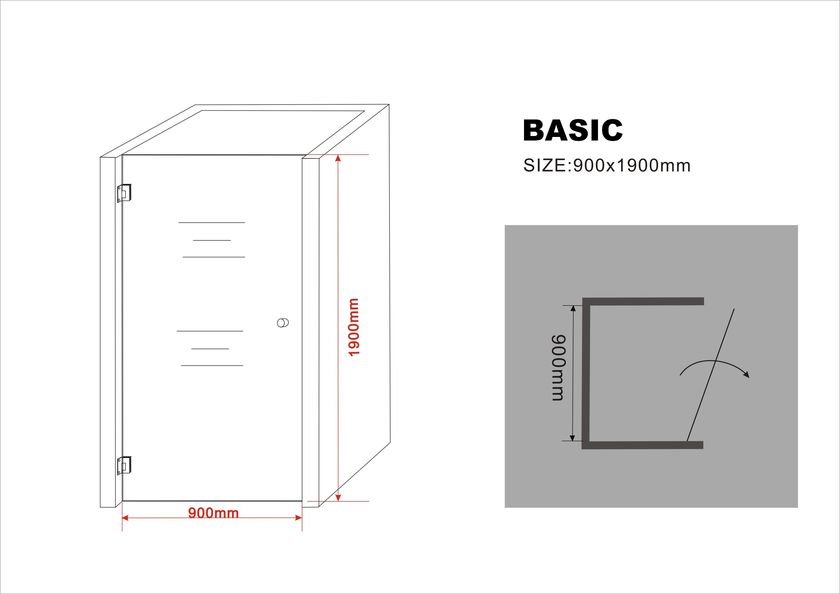 8 mm Nischentür BASIC 90 x 190 cm