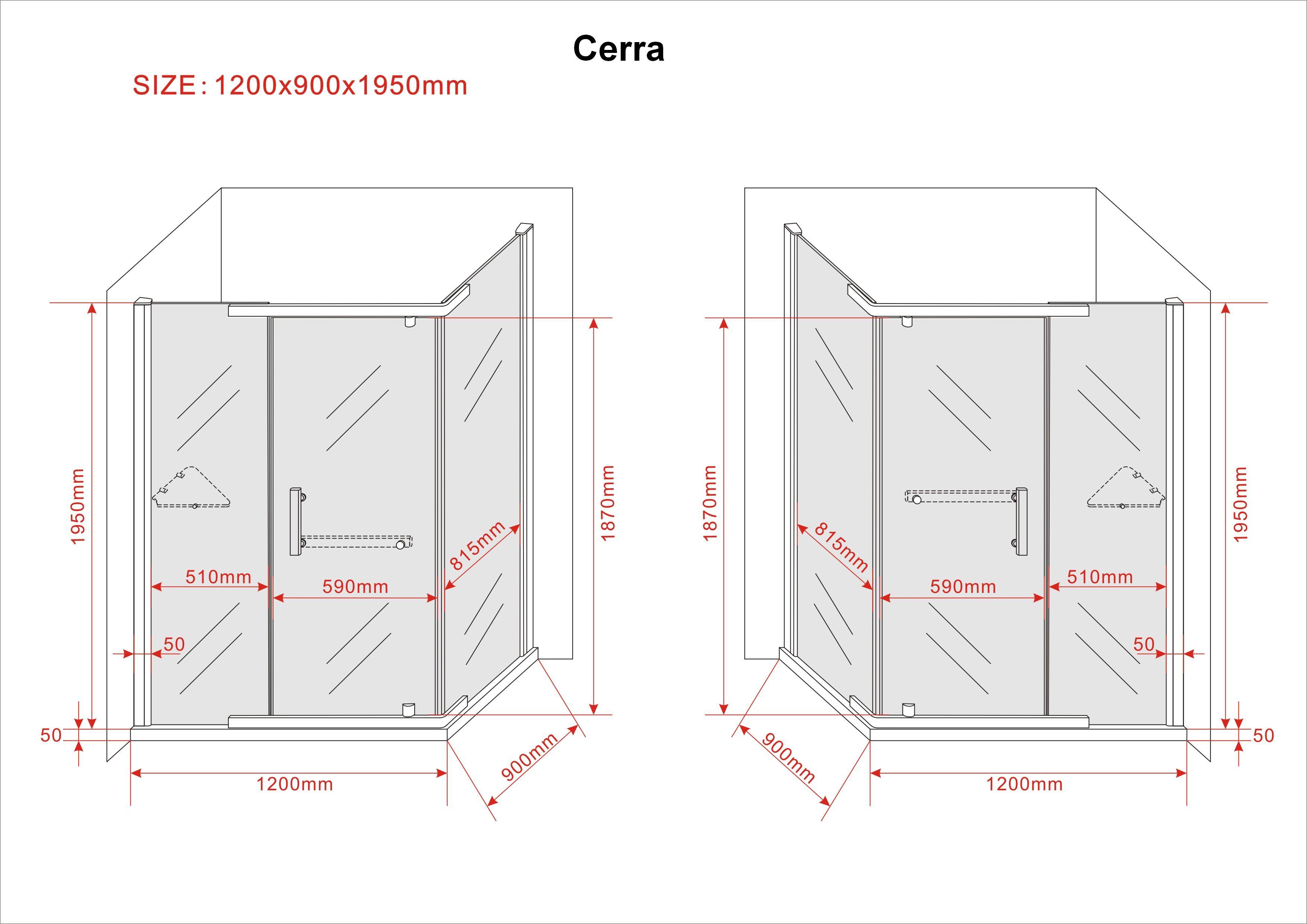 Duschkabine CERRA-FROST 120 x 90 x 200 cm inkl. Duschtasse