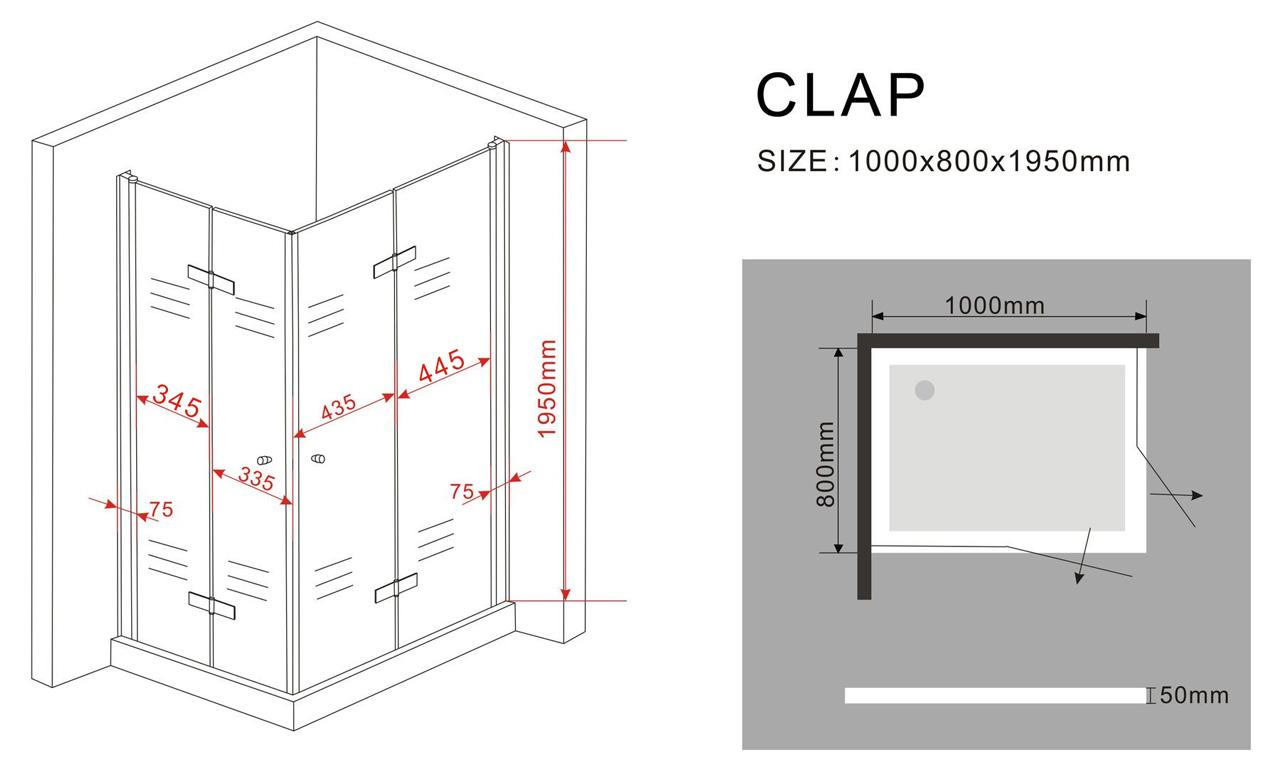 Duschkabine CLAP 100 x 80 x 200 cm inkl. Duschtasse