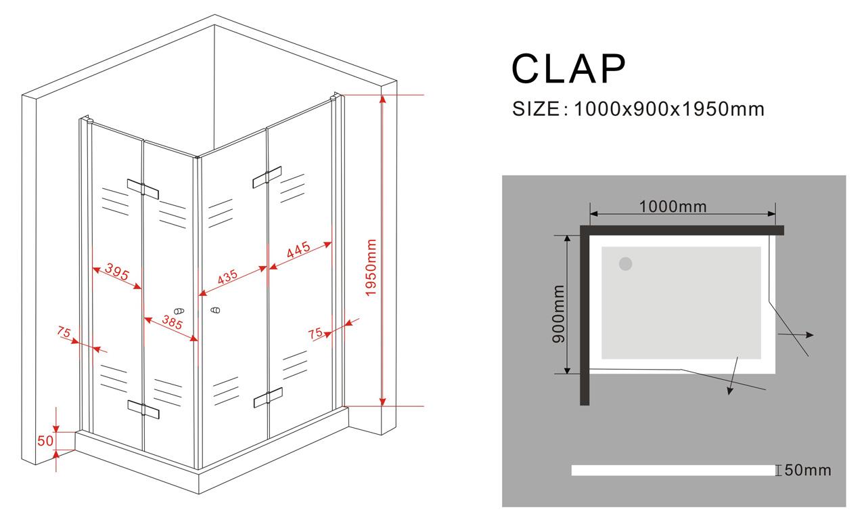 Duschkabine CLAP 100 x 90 x 195 cm
