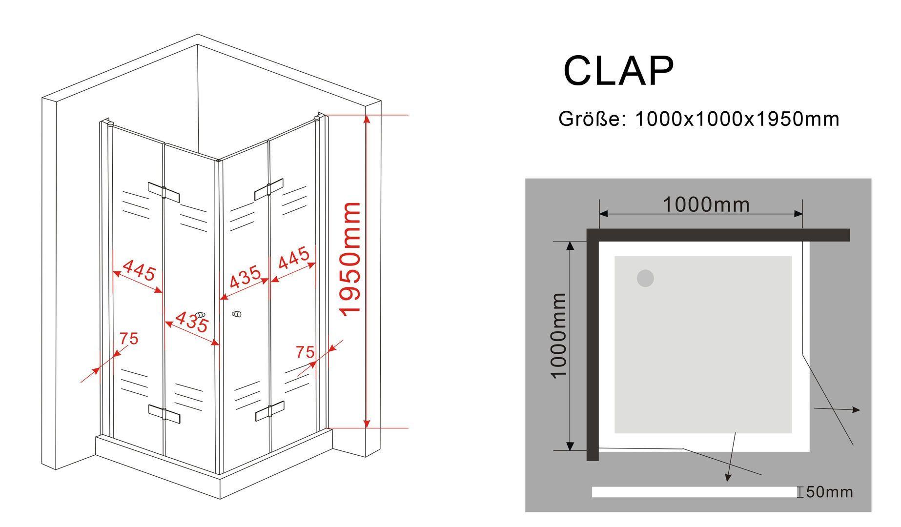 Duschkabine CLAP 100 x 100 x 195 cm ohne Duschtasse