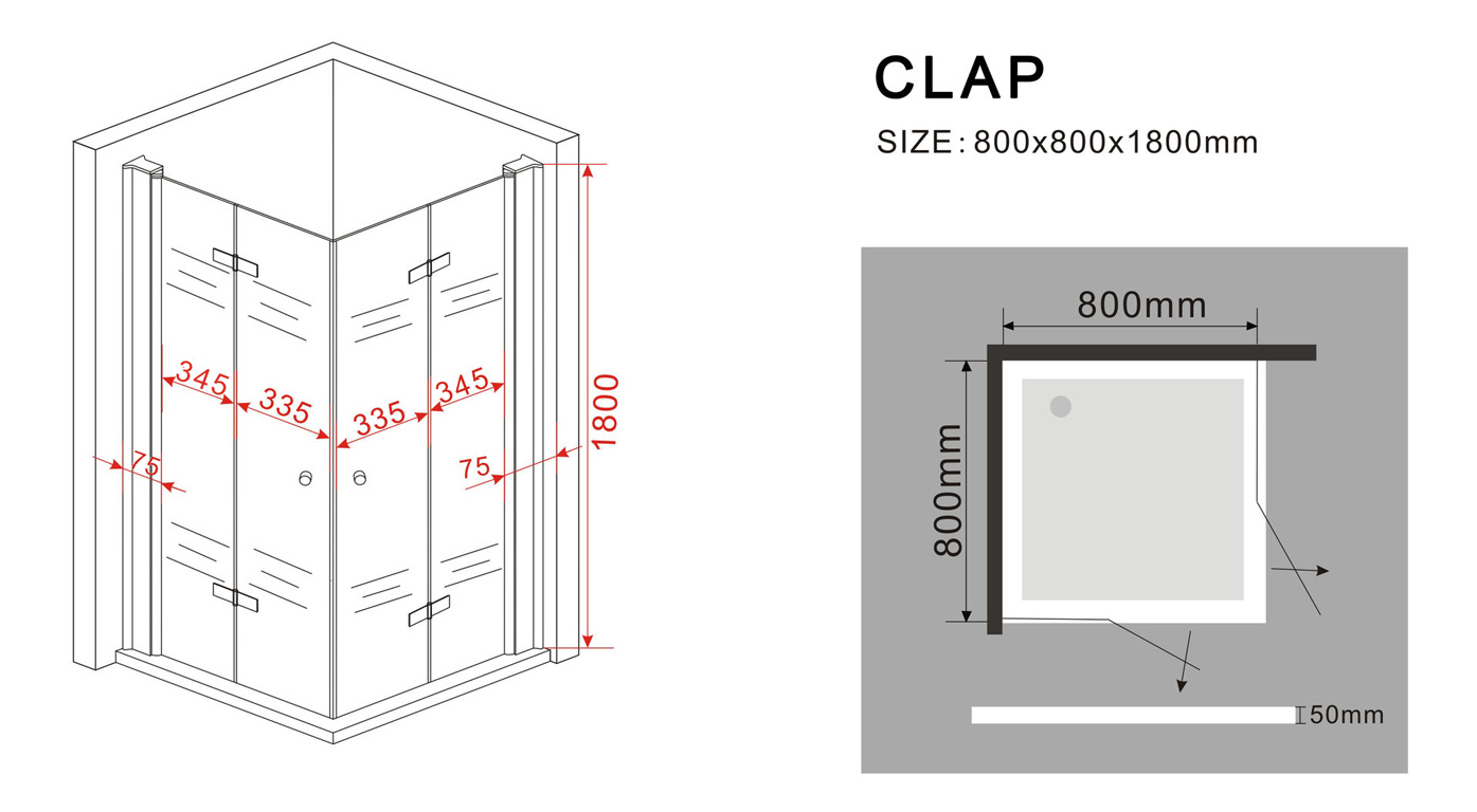 duschkabine clap 80 x 80 x 185 cm inkl duschtasse glasdeals. Black Bedroom Furniture Sets. Home Design Ideas