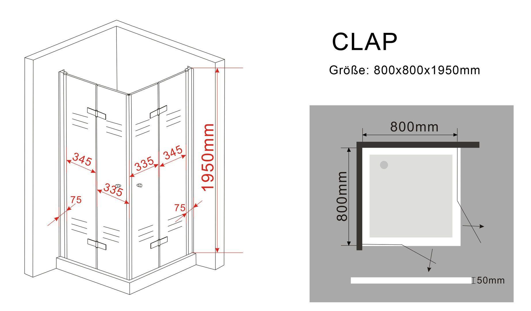 Duschkabine CLAP 80 x 80 x 195 cm