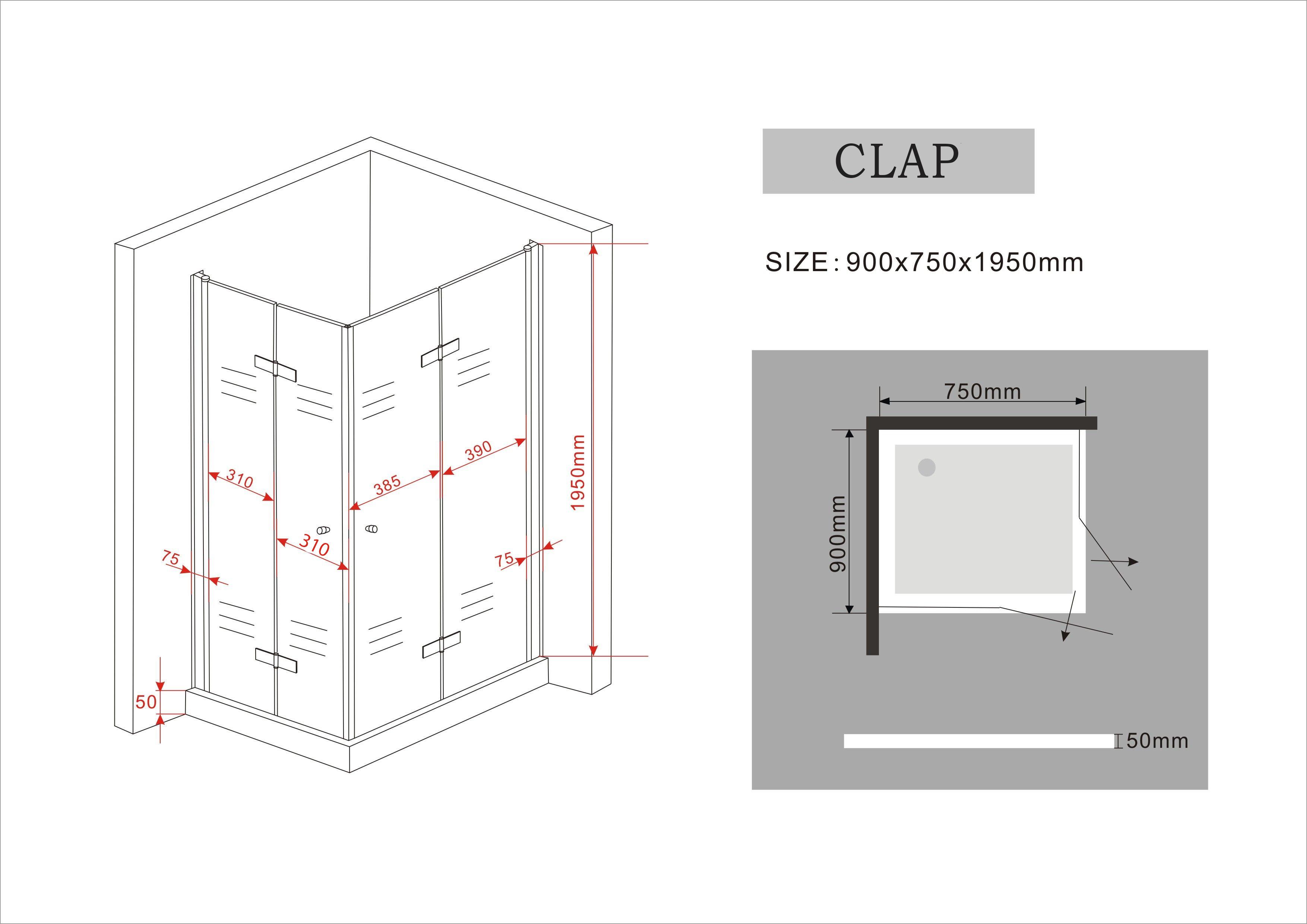 Duschkabine CLAP 90 x 75 x 195 cm ohne Duschtasse