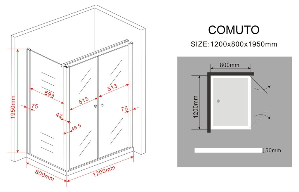 duschkabine comuto 120 x 80 x 195 cm ohne duschtasse glasdeals. Black Bedroom Furniture Sets. Home Design Ideas
