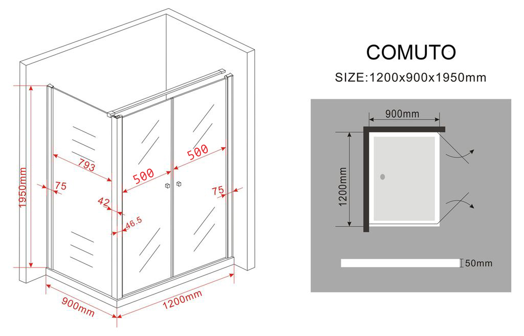 Duschkabine COMUTO 120 x 90 x 195 cm ohne Duschtasse