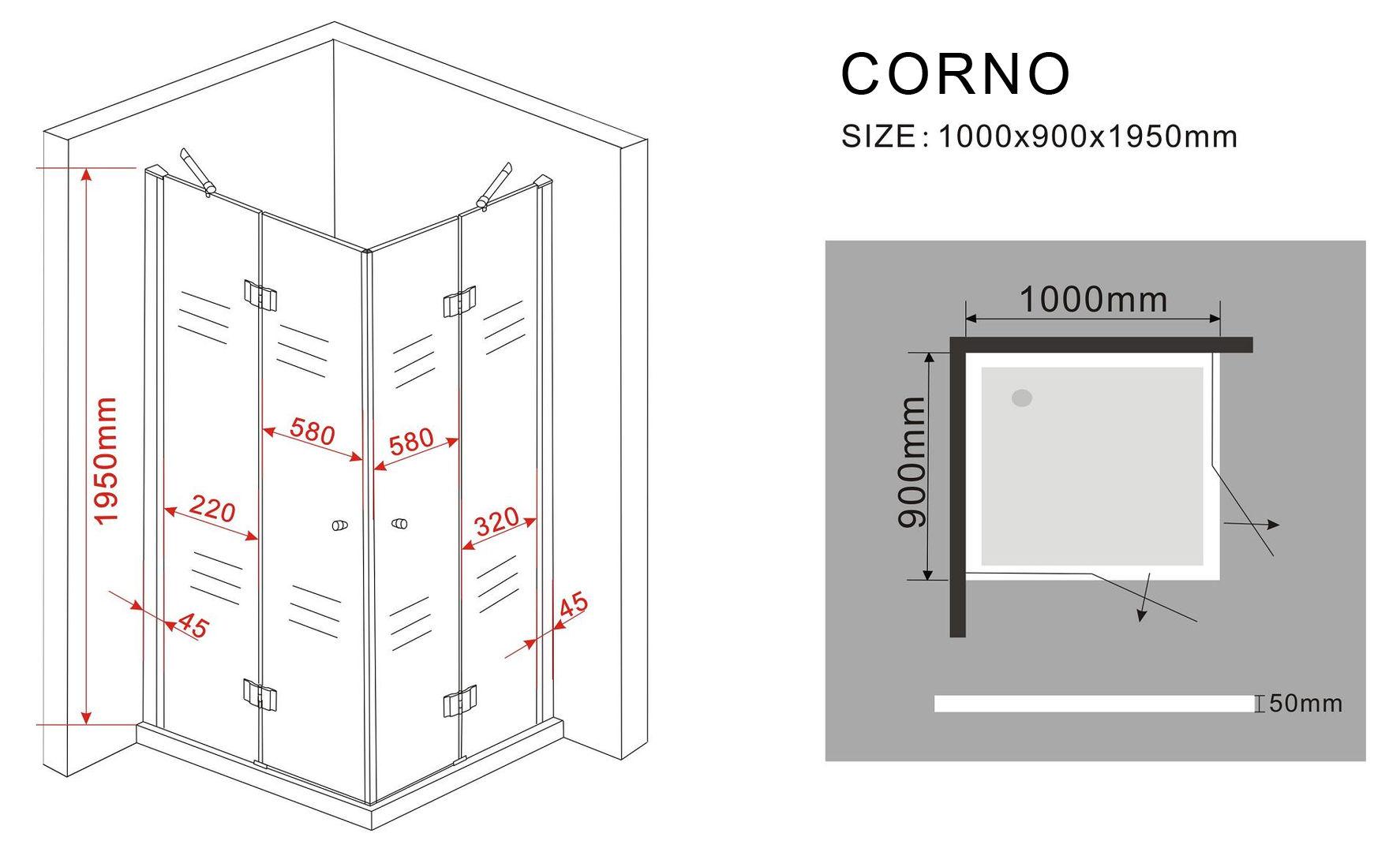Duschkabine CORNO 100 x 90 x 200 cm inkl. Duschtasse
