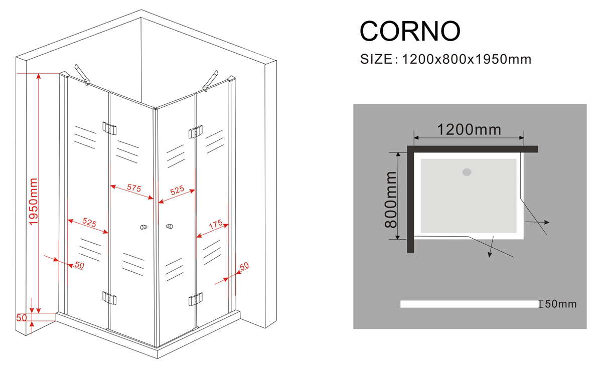 duschkabine corno 120 x 80 x 200 cm inkl duschtasse glasdeals. Black Bedroom Furniture Sets. Home Design Ideas