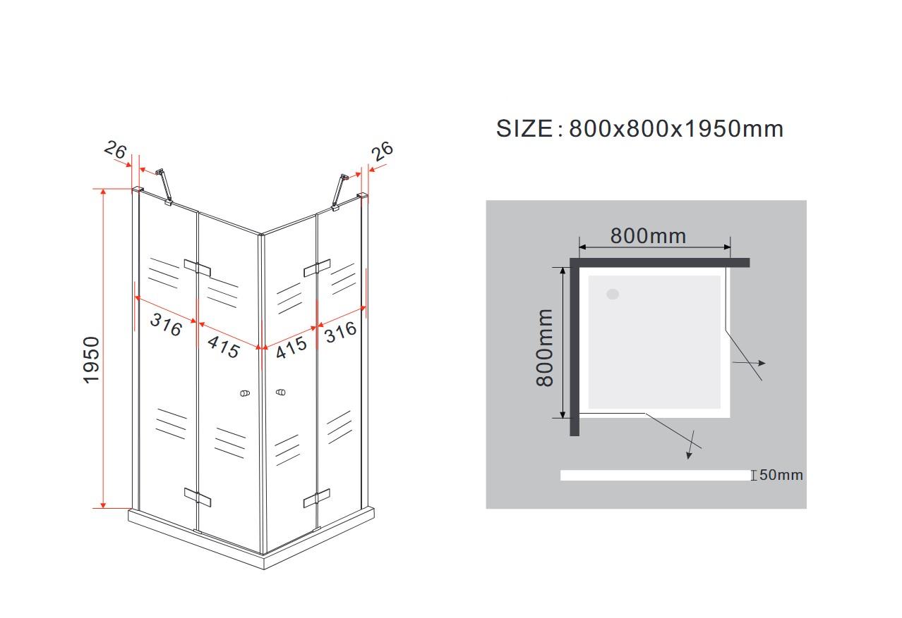 Duschkabine CORNO 80 x 80 x 200 cm inkl. Duschtasse