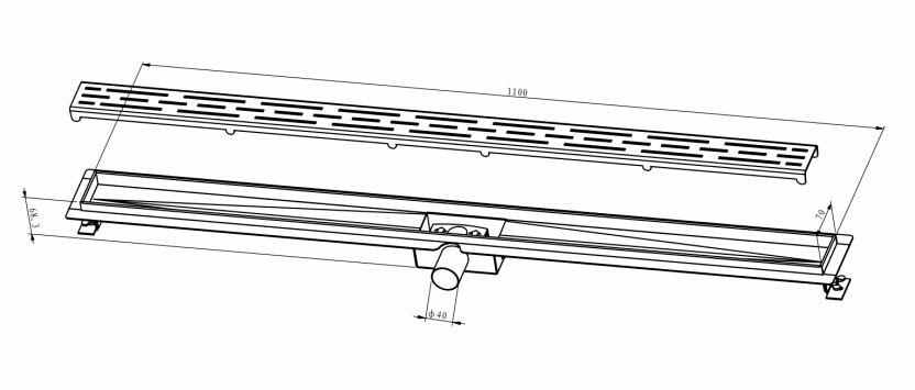 Edelstahl-Duschrinne 110 cm