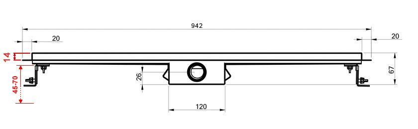 Edelstahl-Duschrinne 90 cm