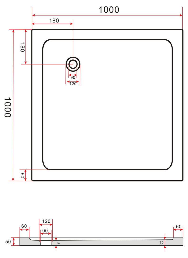 Duschkabine CORNO 100 x 100 x 200 cm inkl. Duschtasse