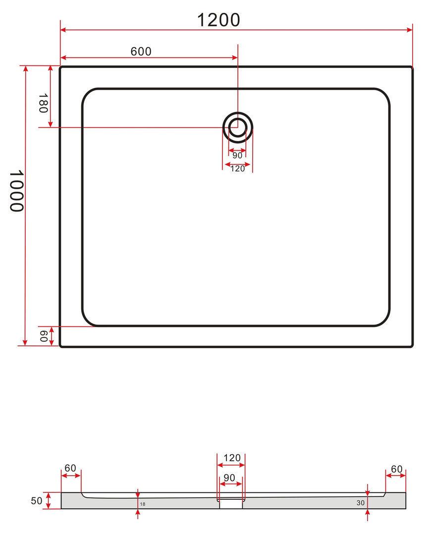 50 mm Duschtasse 120 x 100 cm